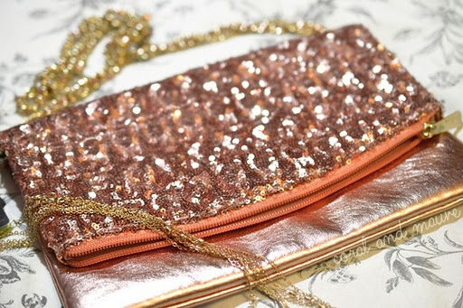 Sequined Mango Clutch Bag