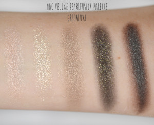 MAC Veluxe Pearlfusion Greenluxe Swatches