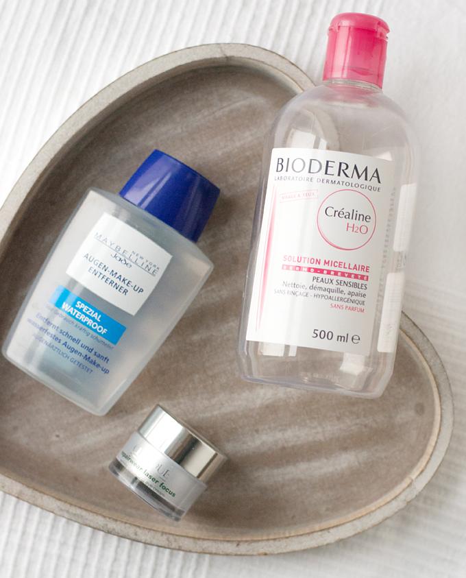 Bioderma Sensibio H2O, Clinique Repairwear Laser Focus Eye Cream & Maybelline Makeup Remover